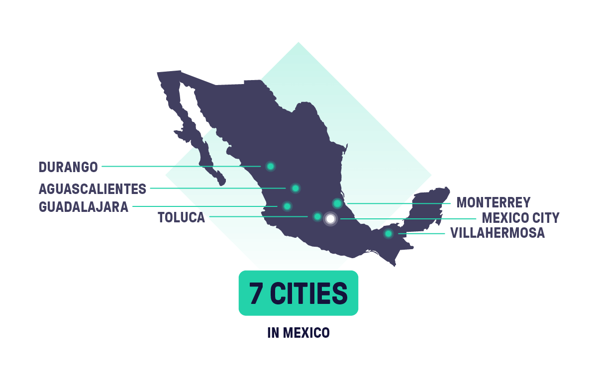 This is map of Mexico where we show in which cities Beat Mexico operates